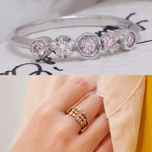 GWイベント開催中 数量限定 スチールピンクダイヤモンド リング「kaleido カレイド」 誕生石 4月 春色ピンク2020 母の日