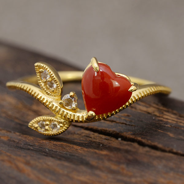ハート赤珊瑚×ローズカットダイヤリング「リーフライン」 誕生石 3月 4月