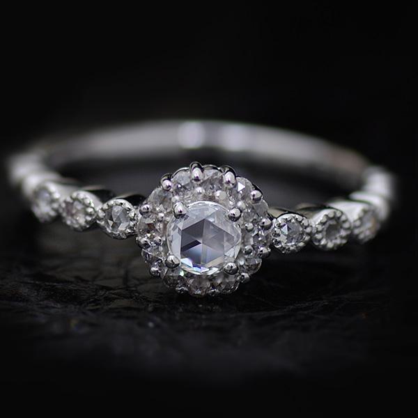 3.6mmローズカットダイヤモンドリング「パリュール」対応金種:K18WG/K18YG/K18PG/K18SG 誕生石 4月