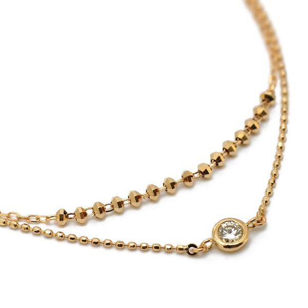 手首が華奢に見える。ダイヤモンドしゃらしゃらブレスレット対応金種:K18WG/K18YG/K18PG
