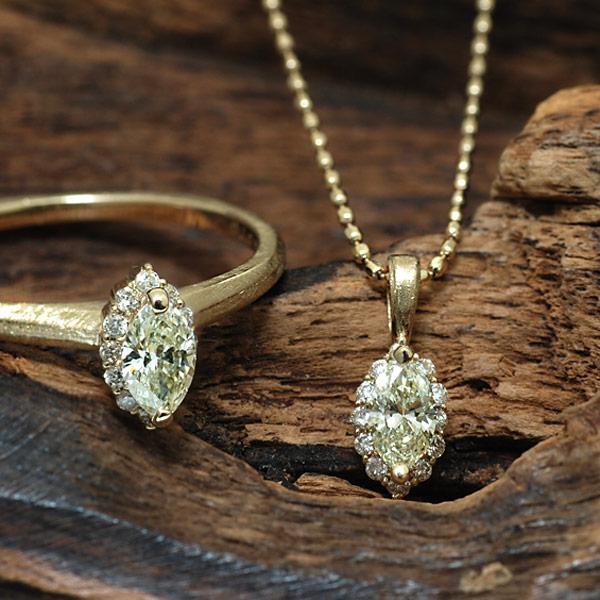 GWイベント開催中 マーキス イエローダイヤモンド×ダイヤモンドペンダントトップ「ルイ」 誕生石 4月 母の日