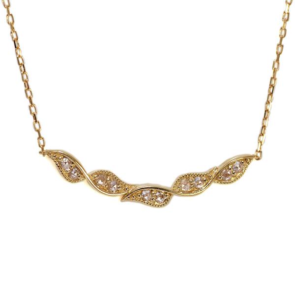 GWイベント開催中 ダイヤモンドネックレス「ツイストリーフ」(チェーン付)対応金種:K18WG/YG/PG/SG 誕生石 4月 母の日