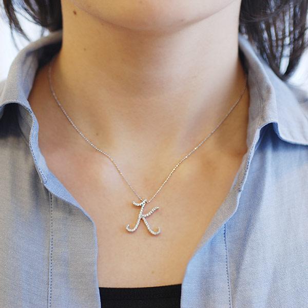 """Diamond initial pendant """"K"""" for gold type:K18PG/YG/WG/SG"""
