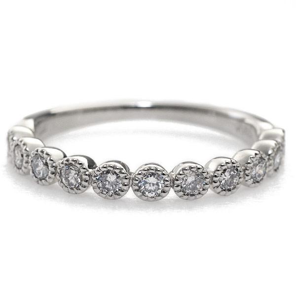 プラチナ900製 0.3ctダイヤモンドミル打ちリング 誕生石 4月