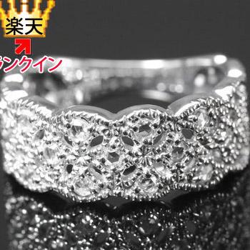 復活再販 ミル打アンティークの装飾美しい!13石ローズカットダイヤモンドデザインリング 誕生石 4月