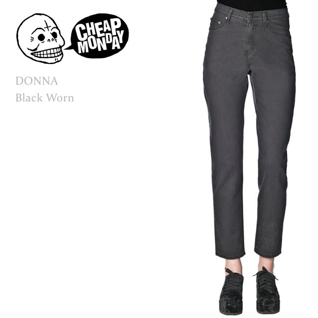 Cheap Monday (clothing) DONNA HIGH RISE COMFORT FIT Black Worn patterned  and black denim / boy friend / straight