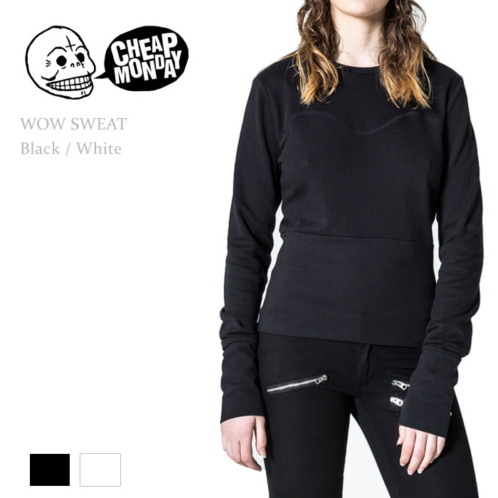 【SALE】Cheap Monday(チープマンデー)WOW SWEAT Black/Whiteスウェット/プルオーバー