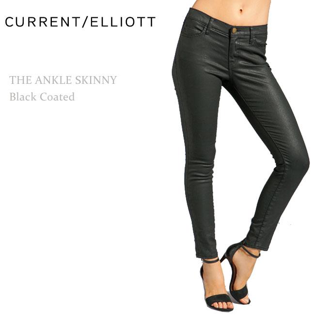 Current Elliott(カレントエリオット)THE ANKLE SKINNY Black Coated【送料無料】アンクルスキニー/ブラックデニム/コーティングデニム