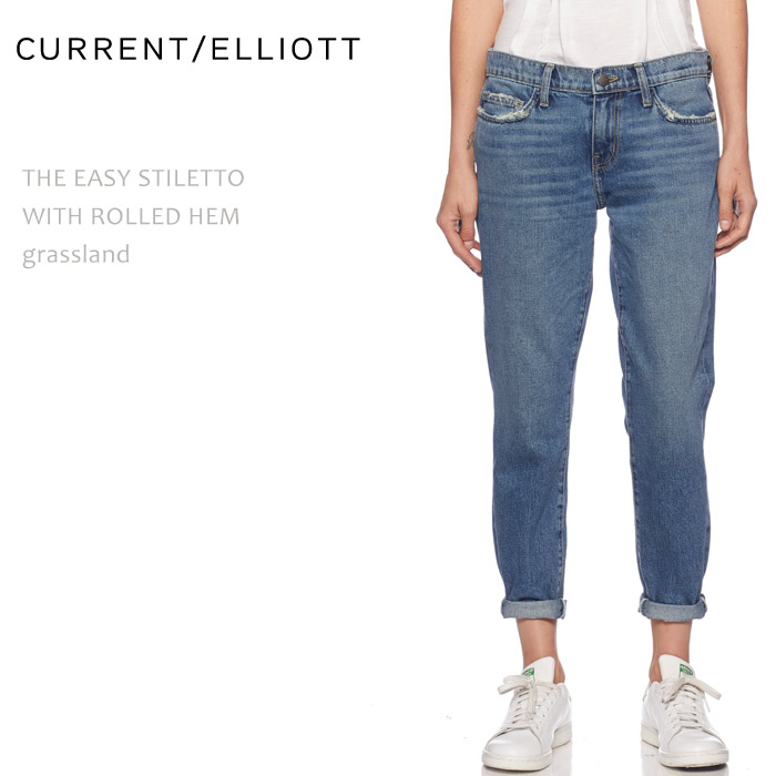 【SALE】CURRENT ELLIOTT(カレントエリオット)THE EASY STILETTO WIHT ROLLED HEM Grassland リラックススキニー ロールアップ スキニー デニム