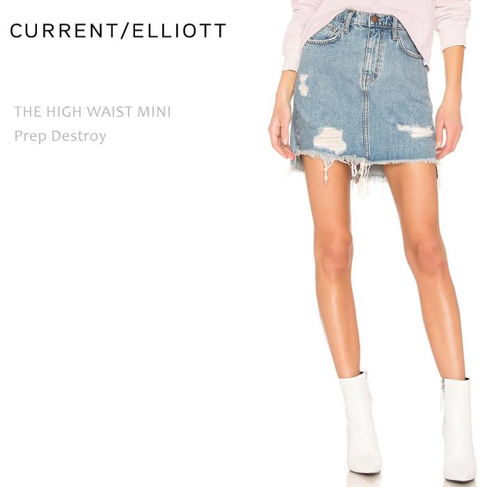 【SALE】CURRENT ELLIOTT(カレントエリオット)THE HIGH WAIST MINI Prep Destroyミニスカート デニムスカート ダメージデニム カットオフ