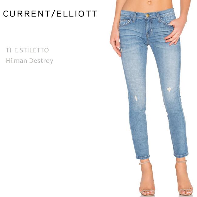 【SALE】CURRENT ELLIOTT(カレントエリオット)THE STILETTO Hilman Destroyクロップド/スキニー/ダメージデニム