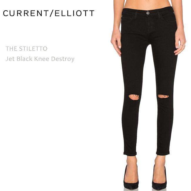 【SALE】CURRENT ELLIOTT(カレントエリオット)THE STILETTO Jet Black Knee Destroyクロップド/スキニー/カラーデニム/ブラックデニム/ダメージ