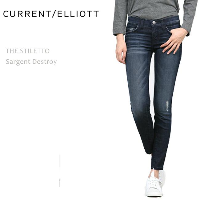 【SALE】CURRENT ELLIOTT(カレントエリオット)THE STILETTO Sargent Destroyスキニー/クロップド/デニム/ダメージ/デストロイ