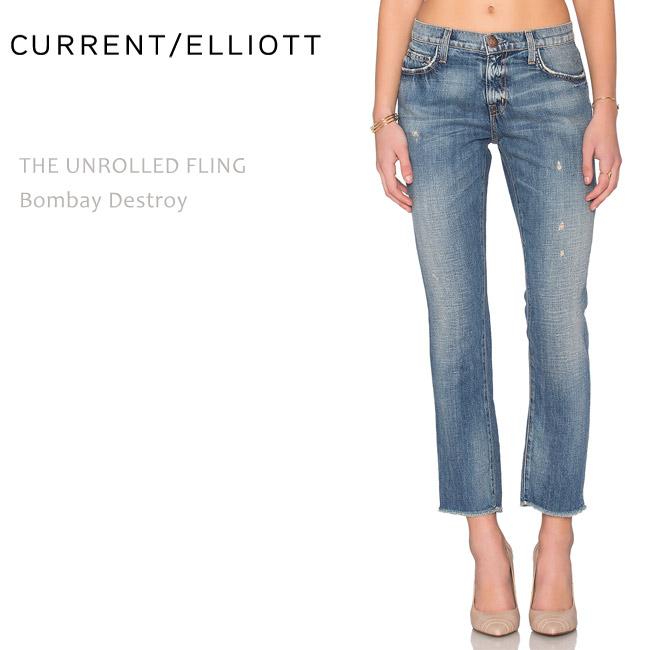 【SALE】CURRENT ELLIOTT(カレントエリオット)THE UNROLLED FLING Bombay Destroyボーイフレンド/ストレート/デニム/ルーズフィット