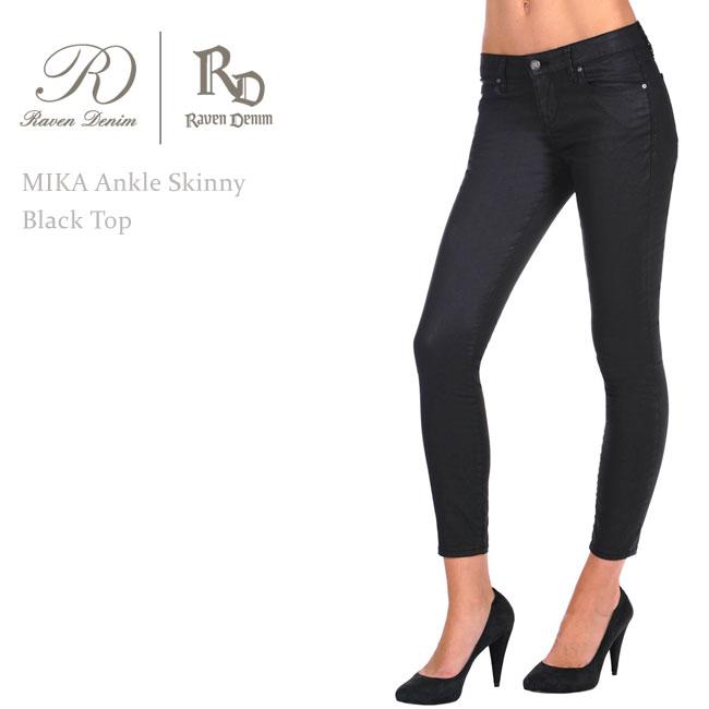 【SALE】Raven Denim(レーベン・デニム) MIKA Ankle Skinny Black Top【送料無料】スキニーデニム/クロップドデニム/コーティング