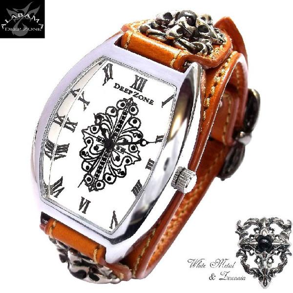 ディープゾーン メンズ 腕時計 オラオラ系  レザー ジルコニア メンズ 腕時計 アクセサリー 腕時計 牛側 ブレス[DZBW-018]男 国産 コンチョ 革 本皮 デイープ  悪羅悪羅 お兄系 [ Deep Zone ]