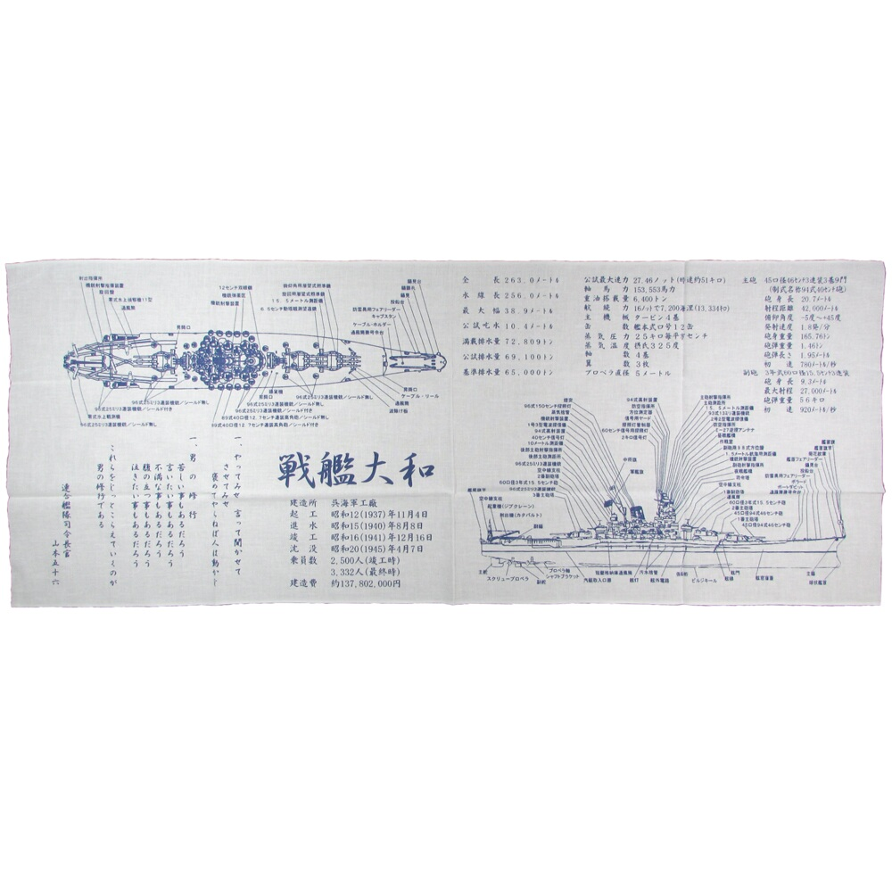日本海軍 海軍 永遠の定番 大和 手ぬぐい お気に入 説明図 戦艦大和 旧日本海軍グッズ