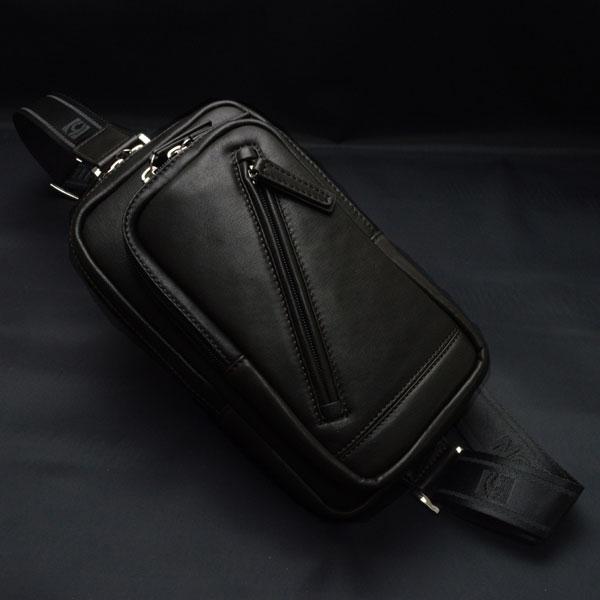 ボディバッグ ワンショルダーバッグ 本革 馬革 HAMILTON メンズ 16375(クロ)