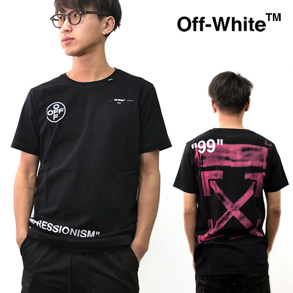 オフホワイト【Off-White】 正規品 STENCIL S/S SLIM TEE Tシャツ 半袖 メンズ トップス BLACK FUCHSIA アロー コットン スリムフィット クルーネック OFF WHITE OMAA027R19185015 ストリート 【あす楽】