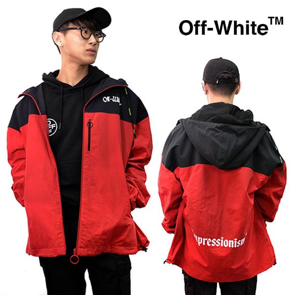 オフホワイト【Off-White】 正規品 WINDBREAKER RED ウインドブレーカー アウター ジャケット メンズ OFF WHITE トップス 長袖 ジップ OMEA169R19C01026 ストリート 【あす楽】
