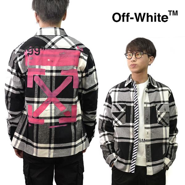 オフホワイト【Off-White】 正規品 STENCIL FLANNEL SHIRT フランネルシャツ OFF WHITE FUCHSIA メンズ チェック OFF WHITE トップス 長袖 OMGA060R19C08015 ストリート 【あす楽】