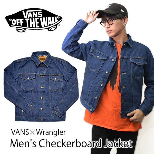バンズ【VANS】VANSxWrangler Men's Checkerboard Jacket アウター デニム Gジャン ジャケット メンズ チェッカーボード ラングラー インディゴ【あす楽】