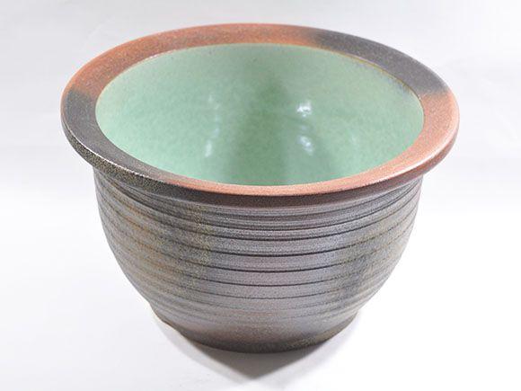 [睡蓮鉢 めだか鉢]信楽焼 コゲ千段水鉢 13号サイズ【自然 水辺 水盤 水ばん 花器 水鉢 めだか 金魚 水生植物 陶器鉢 睡蓮 池 ビオトープ】