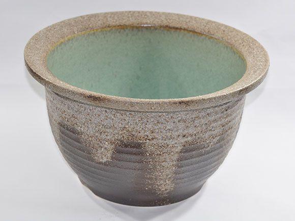 [睡蓮鉢 めだか鉢]信楽焼 灰釉千段水鉢 13号サイズ【自然 水辺 水盤 水ばん 花器 水鉢 めだか 金魚 水生植物 陶器鉢 睡蓮 池 ビオトープ】