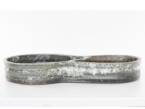 盆栽 ミニビオトープ 鉢 水盤白雪ひょうたん 15号 幅46cm×高7cm【自然 水辺 水盤 水ばん 花器 水鉢 めだか 金魚 水生植物 陶器鉢 睡蓮鉢 池 ビオトープ】