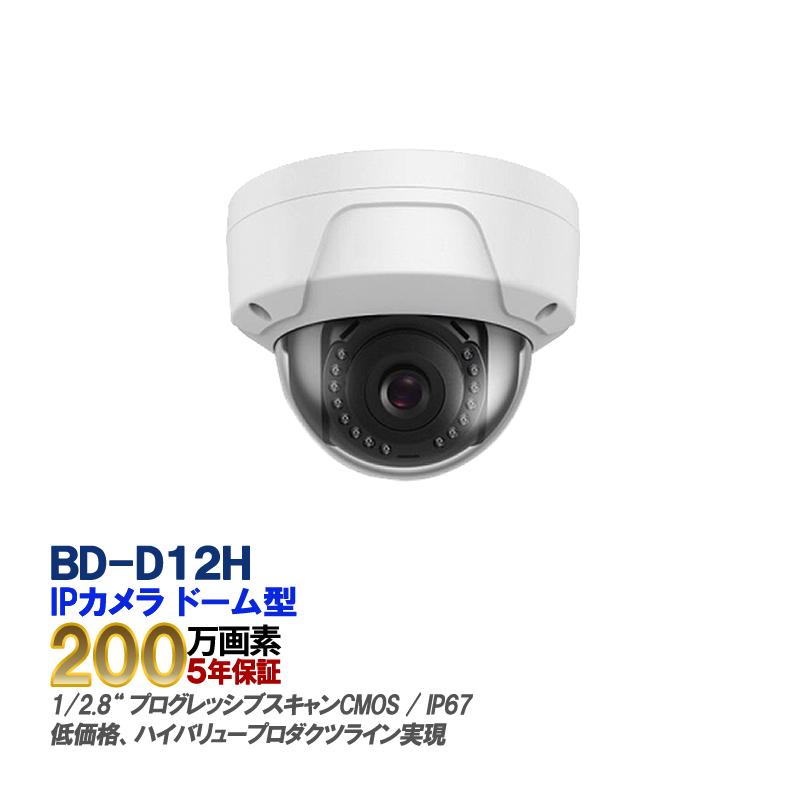 防犯カメラ 監視カメラ 遠隔監視 防犯システム 防犯・監視カメラ防犯カメラ IP CAMERA BD-D12H 最大2メガピクセル ネットワークカメラ 2.8mm【送料無料】【あす楽対応】