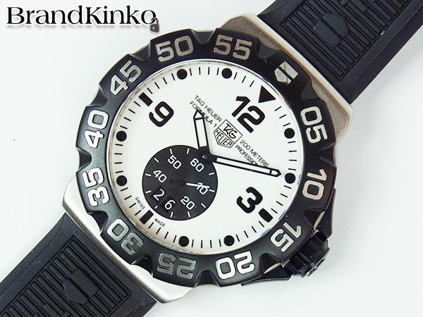 送料無料 タグホイヤー フォーミュラ1 200m メンズ 腕時計 グランドデイト WAH1011 クォーツ 白文字盤 訳あり TAG Heuer ♭ 【中古】
