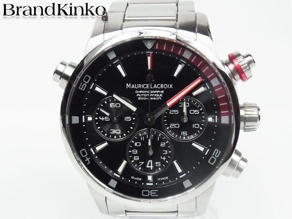 送料無料 モーリスラクロア ポントスS 200m クロノグラフ メンズ 腕時計 PT6018-SS002-330 SS オートマ MAURICE LACROIX ♭ 【中古】