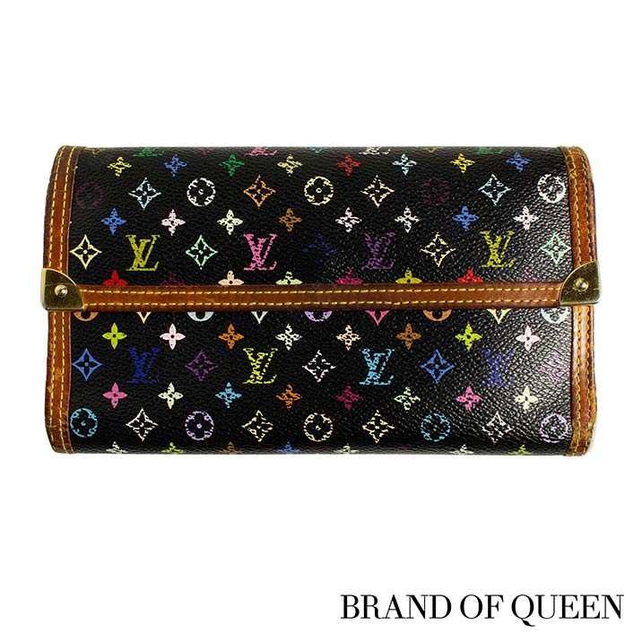 2ce1ad6f749 LOUIS VUITTON Takeru Louis Vuitton wallet Lady's monogram multicolored  black ポルトフォイユ international M92658 three fold long wallet Vuitton