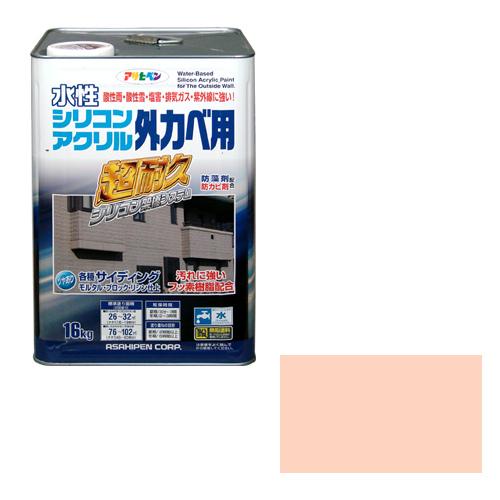 【あす楽対応】アサヒペン水性シリコンアクリル外かべ用16KGティントローズ