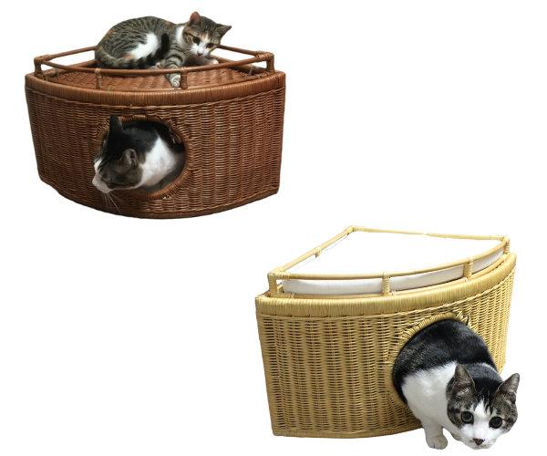チーズ型の猫ハウス 期間限定今なら送料無料 お部屋のコーナーに設置しやすい形状 送料無料 ※ラッピング ※ チーズ型のかわいいコーナー猫ハウス ラタンチ-ジハウス 全2色 シンシアジャパン Japan ベッド Sincere ペットベッド 手作り 猫