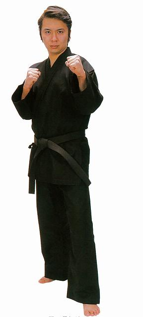 送料無料・送料込み(北海道・沖縄除く) 拳王黒11号伝統空手衣上下セット(11号帆布製) 6号