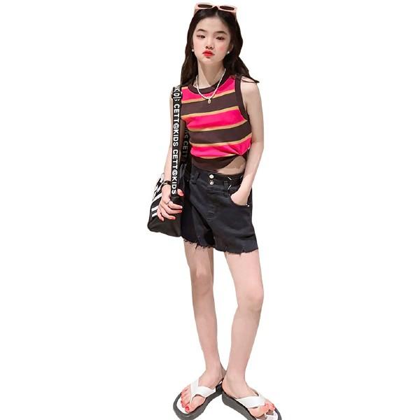 子ども服 タンクトップ Tシャツ ホワイト 白 ブラック 黒 綿 安値 こども かわいい デザインプリントタンクトップTシャツ 海外並行輸入正規品 キッズ オシャレ 子供 おしゃれ コットン 100cm 110cm 男の子 子ども