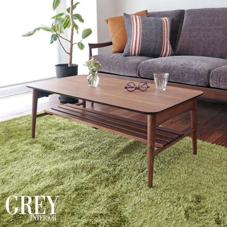 リビングテーブル コーヒーテーブル ウォールナット材 幅90cm 折りたたみ 折れ脚 コンパクト