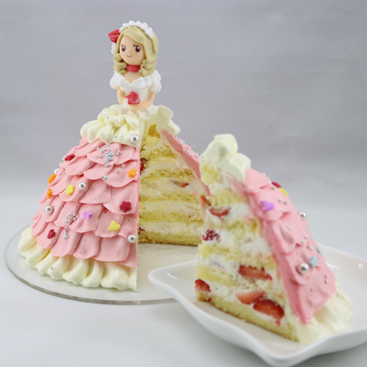 とってもかわいいプリンセスケーキバースデーケーキ(ピンク)4号直径12.0cm約4