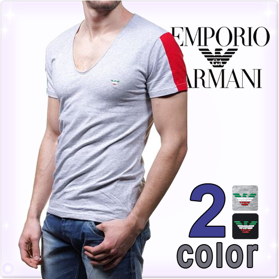 An EMPORIO ARMANI [Emporio Armani, mens t shirt V neck logo short sleeve t-shirt two color development in black gray], [underwear underwear t shirt underwear short sleeve tee shirts Armani t shirt Romare] [mens] [111417-4p510] large [over $ 5400 in] brand