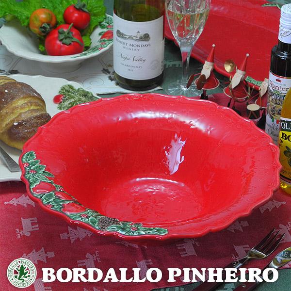 ボルダロ ピニェイロ社 34cm クリスマス ガーランド ボウル 大鉢 赤 ヨーロッパ ポルトガル製 リスボン 陶磁器 食洗器 電子レンジ対応 ハンドメイド 食器 ギフト プレゼントに pbr-0266na