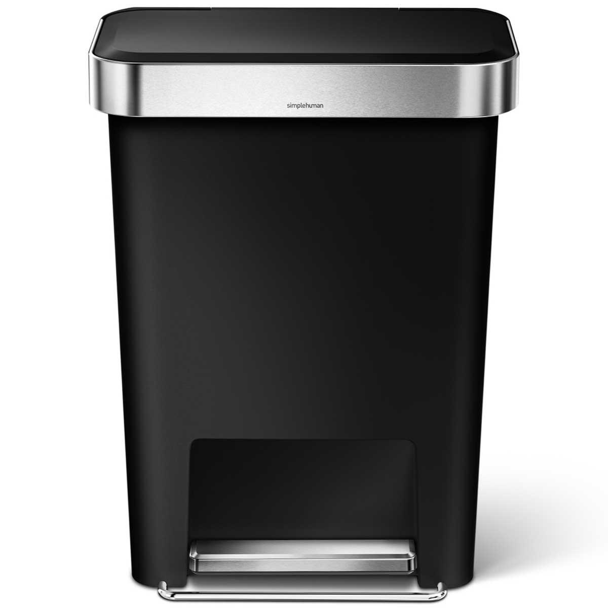 simplehuman ゴミ箱 プラスチックレクタンギュラーステップカン 45L ふた付き ペダル ダストボックス ごみ箱 シンプルヒューマン 正規品 メーカー保証付き 角型ゴミ箱 45リットル CW1385 ブラック