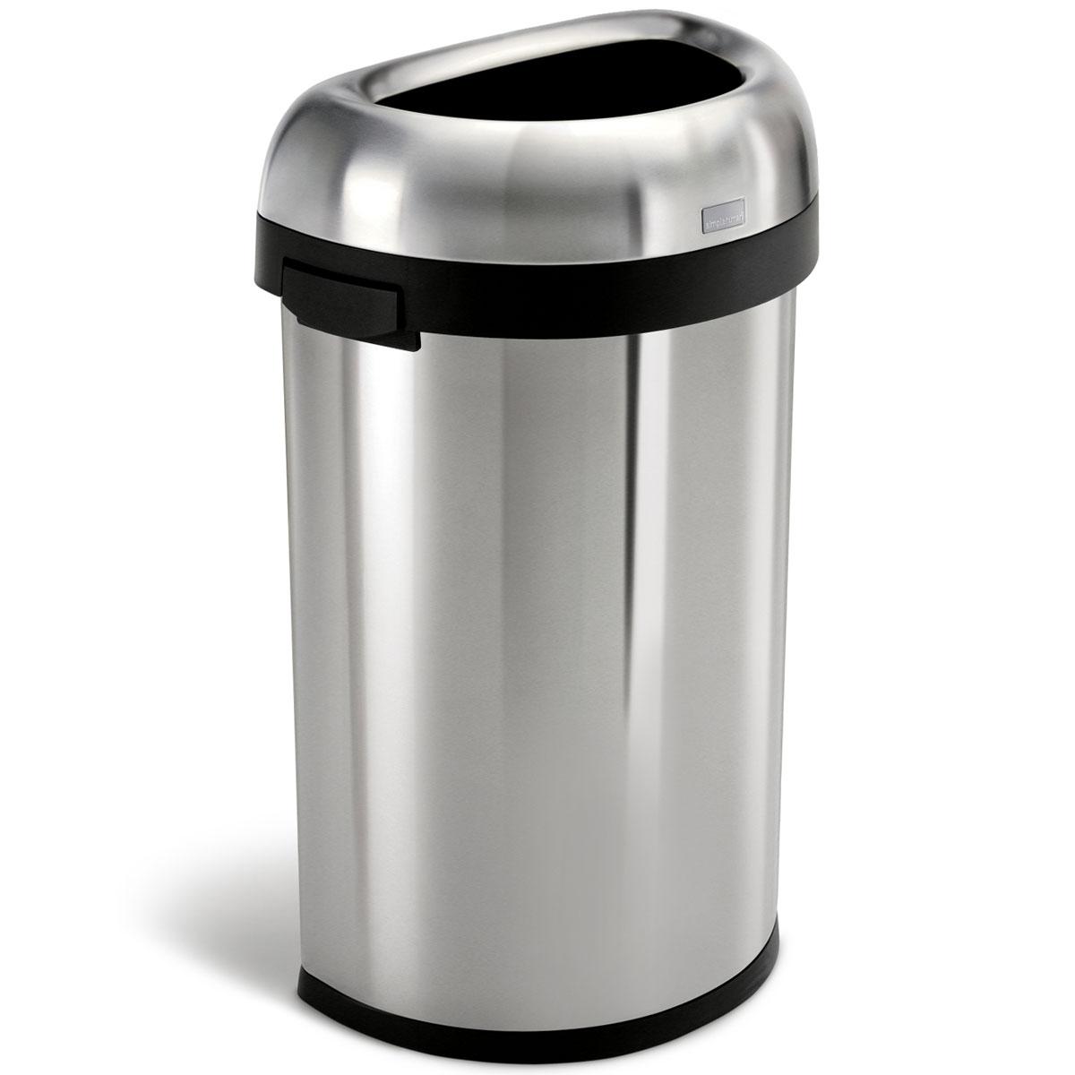 simplehuman ゴミ箱 オープンカン 60L ダストボックス ごみ箱 業務用ゴミ箱 商業施設 シンプルヒューマン 正規品 1年間メーカー保証付き ゴミ箱 CW1468 セミラウンドオープンカン 60リットル
