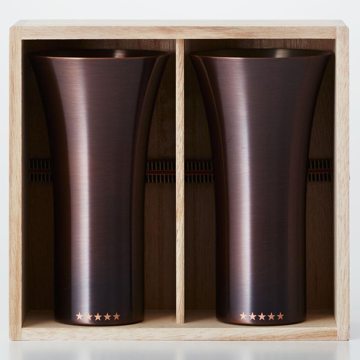 銅製タンブラー WDH 純銅製タンブラー 2個セット 銅製ビールグラス 銅製ビアグラス 銅製カップ ダブリューディーエイチ 銅製タンブラー 380ml ブラウン