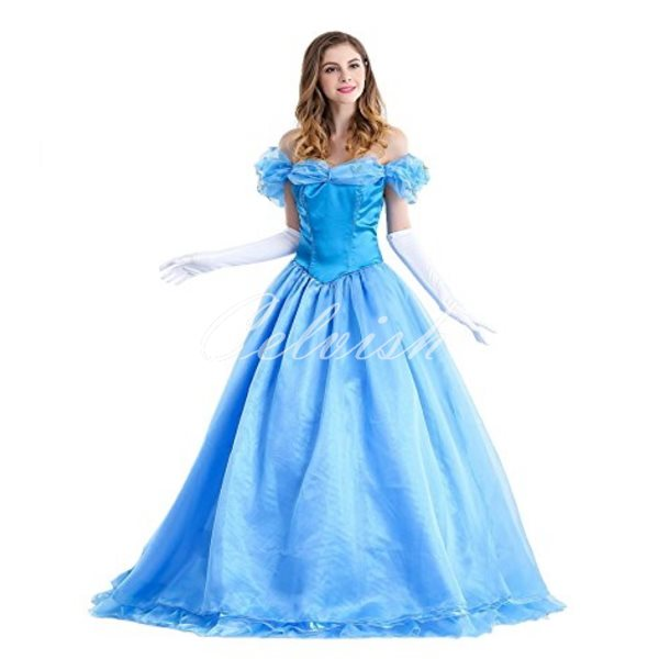 コスプレ ハロウィン シンデレラドレス 大人用(パニエ付) ドレス コスプレ衣装 C-2856c0063P