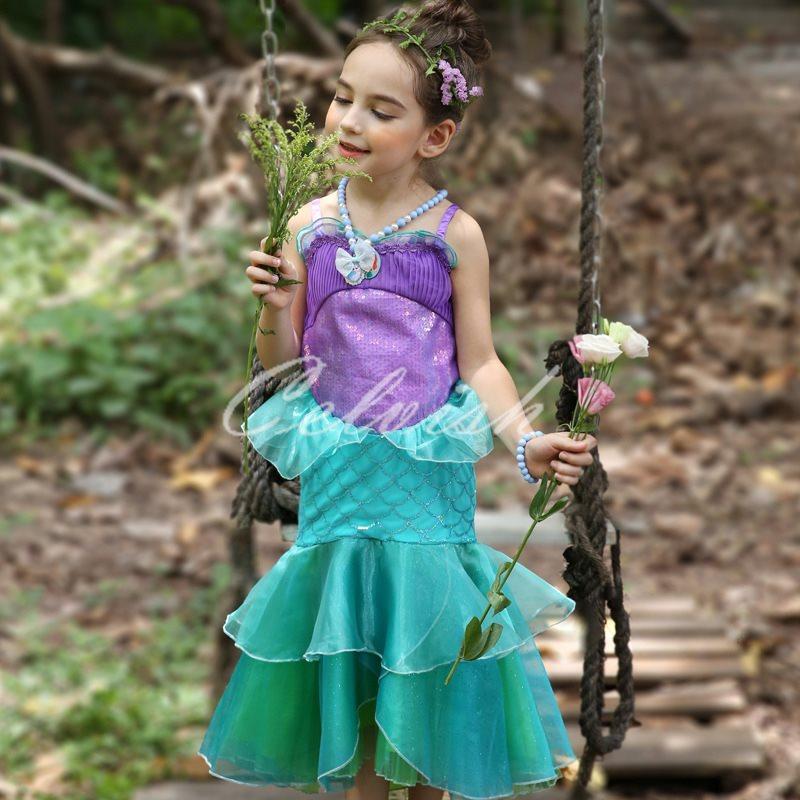 f6e337448b67d 楽天市場 人魚姫 アリエル 風 プリンセスドレス コスプレ ドレス 子供 ...
