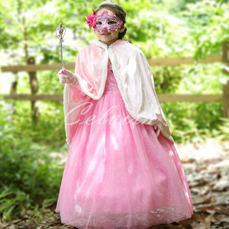 オーロラピンク プリンセスドレス(マント付き)コスプレ ドレス 子供 ドレス 衣装 仮装 c-30580807S