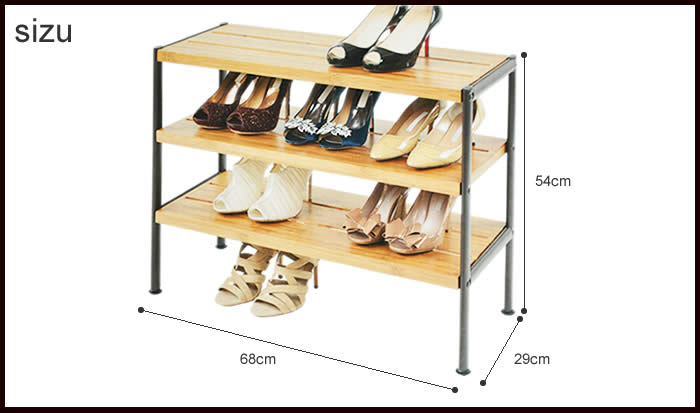 SEVILLE Bamboo+steel 3 Tier Shoe Rack 3 Rack Shoes Rack Desk Or Shelf! Door  Shoe Shoe Rack Shelf Storage