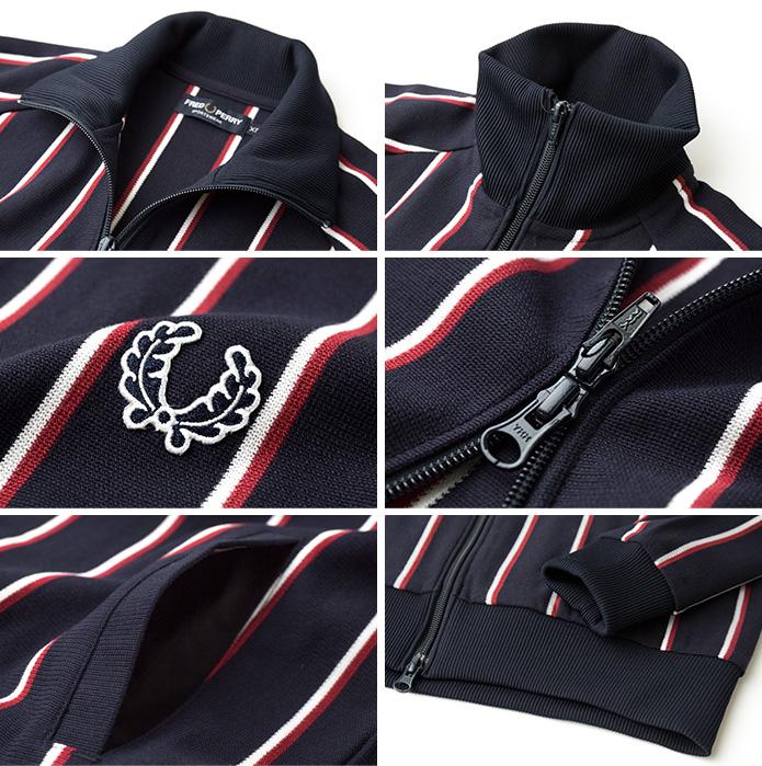 [프레드 페리 셔츠] 검 형 스트라이프 트랙 재킷 FRED PERRY REGIMENTAL TRACK JACKET F2430 일본 만든 트럭 탑