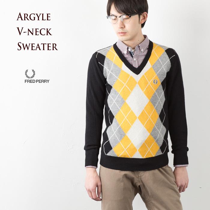 【20%OFFセール】[フレッドペリー セーター]アーガイル ラムウール Vネックセーター K2271[102.BLACK]【送料無料】FRED PERRYメンズセーター